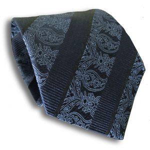Navy Blue Paisley Silk Tie