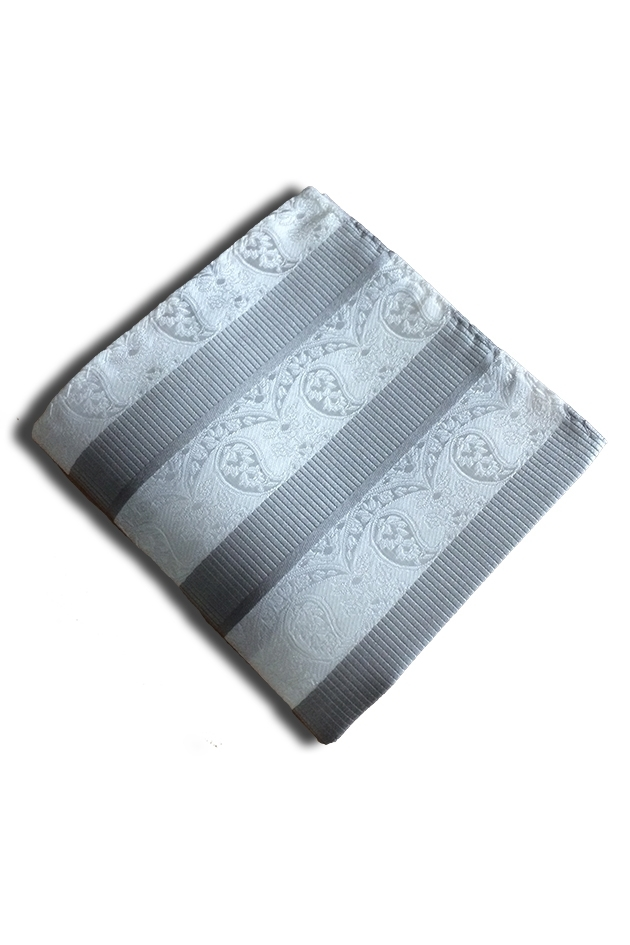 Silver & White Pocket Square