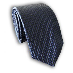 Navy Herringbone Skinny Tie