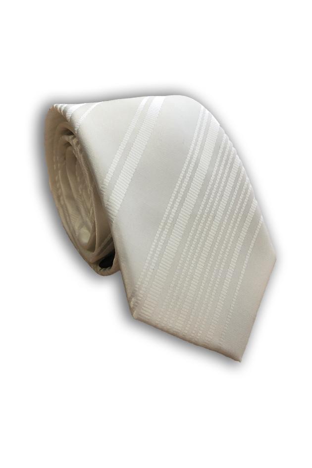 White Skinny Polyester Tie