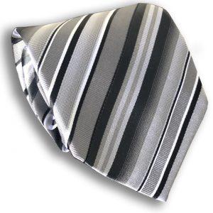 Black & Grey Seven Fold Silk Tie